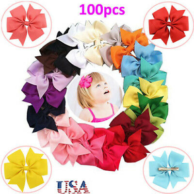 100Pcs 3 Inch Hair Bow Girls Kids Clips Headwear Bowknot Boutique Wholesale USA