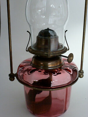 Victorian Cranberry glass hanging oil lamp brass frame
