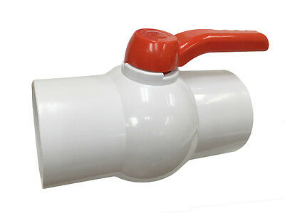 """4"""" PVC Ball Valve Inline Threaded Valves Schedule 40  White New Long Handle"""