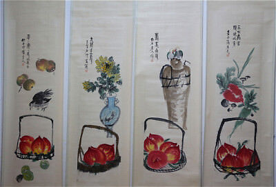 """RARE Chinese 100% Hand Painting 4 Scrolls """"Flowers & Fruits"""" By Qi baishi 齐白石 ZZ"""