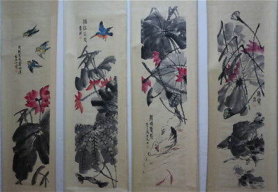 """RARE Chinese 100% Hand Painting 4 Scrolls """"Lotus and Animals"""" By Qi baishi 齐白石 K"""