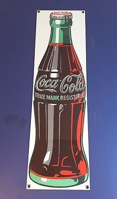"COCA COLA PORCELAIN SIGN - ANDE ROONEY - 21"" X 6.25"" - HEAVY METAL BACKING label"