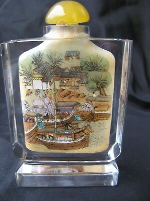 CHINA 20.th CENTURY SNUFF BOTTLE REVERSE PAINTED CUT GLASS JADE STOPPER HARBOR