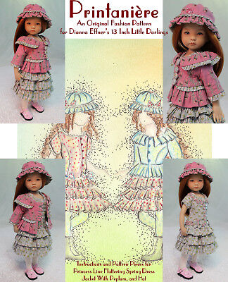 """Printanière"" Original Fashion Pattern for Dianna Effner's 13"" Little Darlings"