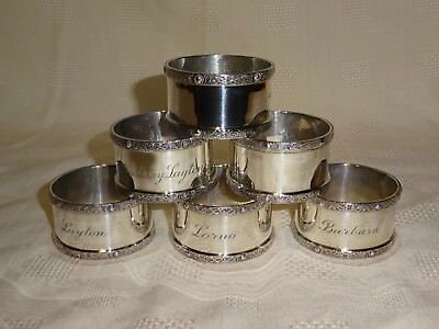 Heavy Set Of 6 Sterling Silver Napkin Rings Royal Irish Silver Co - 1971 Dublin