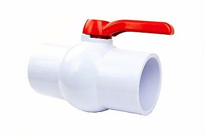 "3"" PVC Ball Valve Inline Socket Slip x Slip Schedule 40 Solvent New Long Handle"