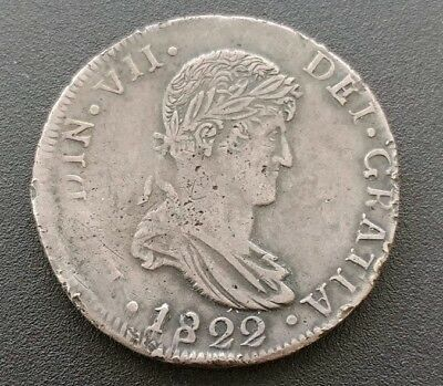 Durango Mexico 8 Reales 1822 - CG Bold Darkly Toned XF War Of Independence