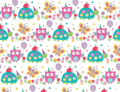 1 Sheet Owl Birthday Gift Wrap Wrapping Paper Girls Childrens Birthday Paper