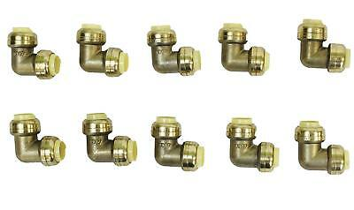 "1/2"" x 1/2"" Sharkbite Style Push Fit Elbow Fittings Lead Free Brass 10 Pieces"