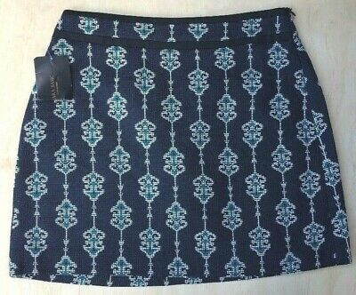 NEW Zara Navy Blue White Teal Patterned Jacquard Zip Mini Skirt Size M NWT A78