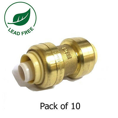 """1/2"""" x 1/2"""" Sharkbite Style Push Fit Coupling Fittings Lead Free Brass 10 Pieces"""