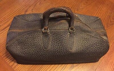Antique Brown Pebbled Leather Doctors Medical Bag w/ Talon Zipper Nice Patina