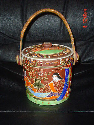 Vintage Japanese Hand Painted Round Tea/Biscuit Barrel #2
