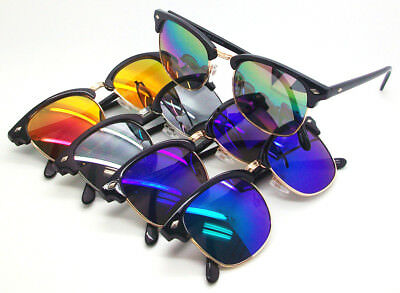 Wholesale Lots 12 Pairs Unisex Clubmaster Sunglasses With Colorful Mirrored Lens