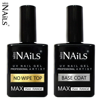 15ml MAX Miss Nails® NO WIPE TOP and BASE COAT UV LED Nail Gel Soak Off Polish