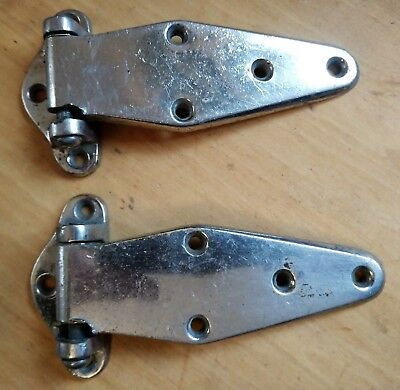 Pair Heavy Antique Nickel Plated Brass Hinges c1930