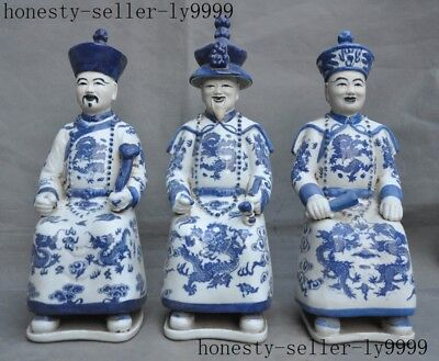 Old Chinese Blue&White Porcelain glaze dynasty Palace Ancient Emperor Statue Set