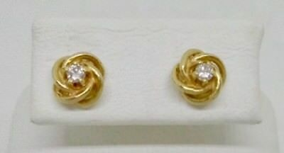 Clic 14k Yellow Gold 2mm Diamond Knot Stud Earrings A Stunning Look
