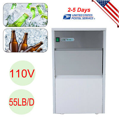 Stainless Steel Under Counter 55LB Ice Machine Built-In Clear Ice Cube Maker USA