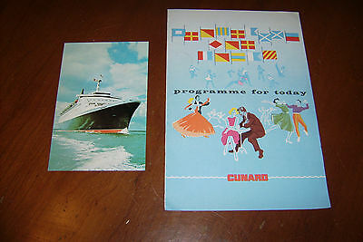 Vintage June 1968 Cunard Rms Queen Elizabeth Programme & Post Card Ship England