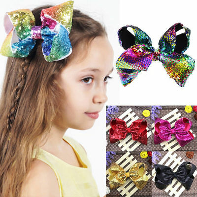 2017 New Baby Girls JOJO Sequins Large Bowknot  Rainbow Bows Hairpin