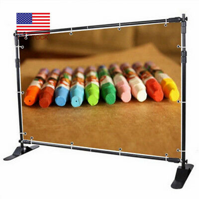 8FT Telescopic Step and Repeat Banner Backdrop Stand Adjustable Photo Display US