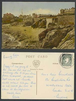 Ireland Wicklow, 2d Map 1954 Old Postcard Carrig Eden from Cove Greystones Beach