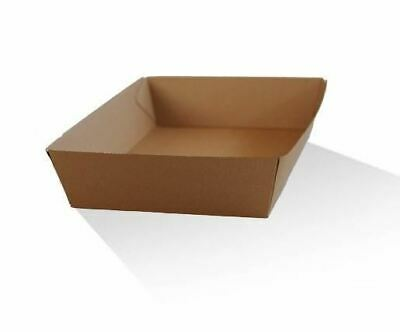 5 x RECYCLED PAPER FOOD TRAY 25cm(L) x 18cm(W) x 6cm(H) Cardboard Chip Trays Hot