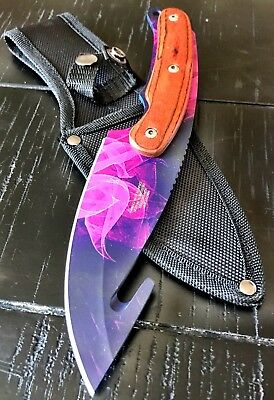"9.5"" Full Tang Hunting Gut Knife W Wood Insert Outdoors Sharp Rainbow EDC 217PP"