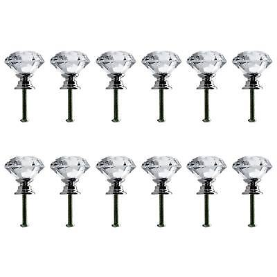 Vintage Crystal Clear Glass Door Drawer Knobs Pull Handle Antique Furniture NEW