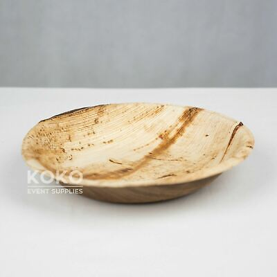25 x PALM LEAF PLATE - ROUND (18cm) Eco Friendly Biodegradable Pine Wood Bamboo
