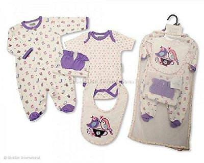 5 Piece Baby Girl Gift Set White/Purple With Embroidery (3-6 Months,
