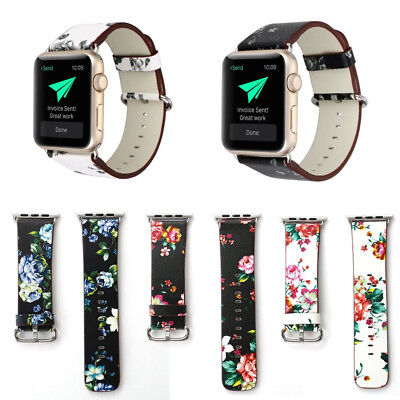 Replacement Plant Painted Leather Bracelet Strap Wristband For Watch 38 mm/42 mm