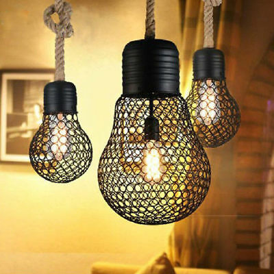 Small/Large Net Metal Bulb Shape Antique Cafe Pendant Light with Rope Hanging