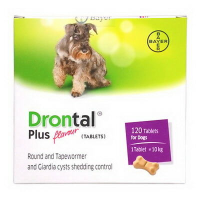 Drontal for Dog 120 Tablets Dewormer Allworms Round Tap Worm Wormer by Bayer