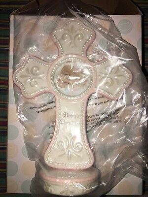 Demadaco Nat & Jules Tender Blessings Pink Baptism Cross Picture Frame Baby Girl