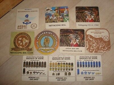 Set of 10 Vintage Mittagong RSL ANZAC Day Coasters