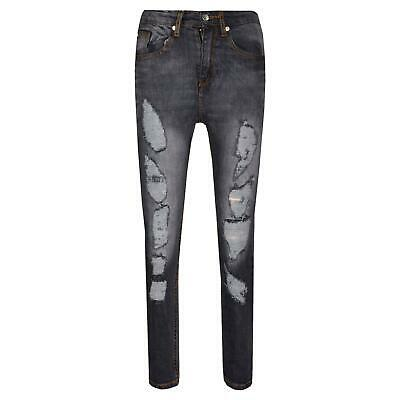 Boys Stretchy Jeans Kids Black Denim Ripped Skinny Pants Fit Trousers 5-13 Years