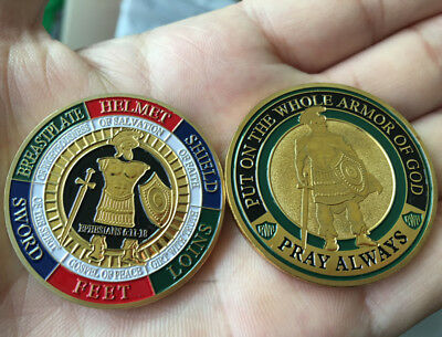 PUT ON THE WHOLE ARMOR OF GOD PRAY ALWAYS Coins Collectibles BADGE Coin