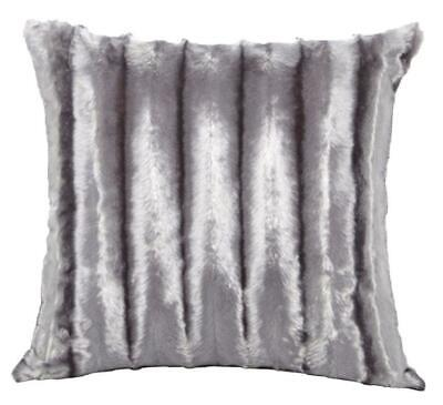 Grey / Silver Faux Mink Fur Faux Fur 18 Inch Super Soft Cushion Cover