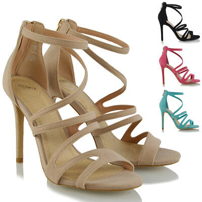 Womens Strappy High Heel Sandals Ladies Peep Toe Evening Party Prom Shoes Size