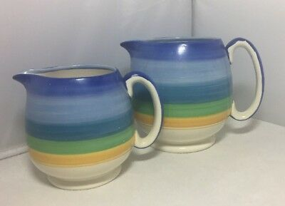 Vintage Art Deco Grays Pottery Pair of Graduated Jugs 1930s Susie Cooper Style