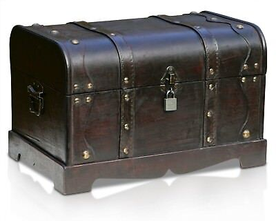 Wooden Storage Chest Large Vintage Wood Trunk Treasure Chest Storage Case w Lock