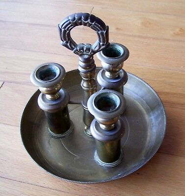 TRIPLE CANDLE HOLDER (1-PIECE) w/TRAY & HANDLE SOLID BRASS (3 candle sticks)