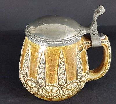 Art Nouveau Ceramics Mug/Beer Mug with Tin Lid, Um 1920 K509