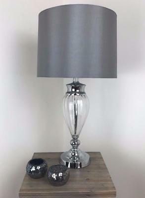 Large Contemporary Glass U0026 Silver Chrome Table Lamp Modern Metal Base Grey  Shade