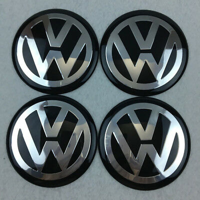 3D Car Wheel Center HUB Caps Curve Badge EMBLEM for VW VOLKSWAGEN Bu/Chrome 65mm