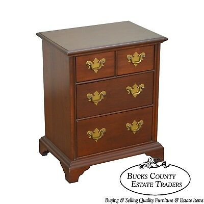 Chippendale Style Small Solid Cherry Wood Accent Chest or Nightstand