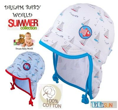 100% Cotton TIE UP SUN hat Summer BABY BOYS Infant KIDS 0-12 months neck protect