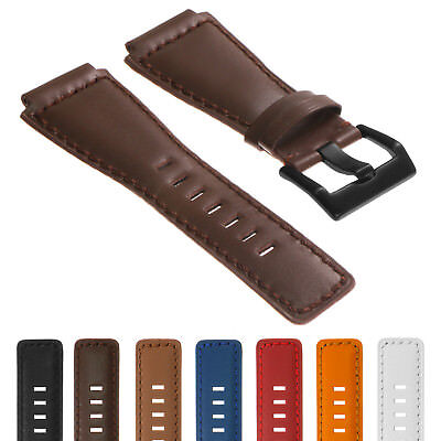DASSARI Leather Watch Band Strap for Bell & Ross BR-01 and BR-03 w/ Black Buckle